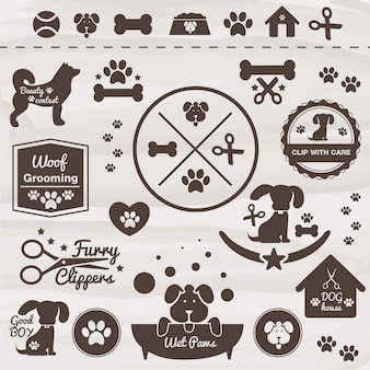 Huisdieren vector hond icon set