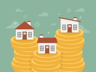 Huizen over stapels munten