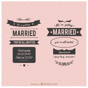 Huwelijk vintage labels
