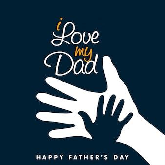 Ik hou van de hand van de gelukkige vadersdag van mijn vader