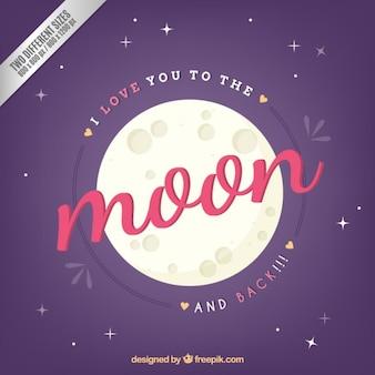 Ik houd van u aan de maan en de achtergrond
