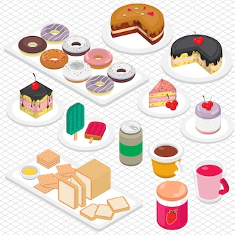 Illustratie van dessert grafisch in isometrische 3d grafische