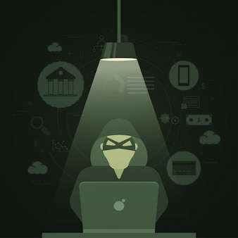 Illustratie van een cyber hacker, internet cyber aanvallen, phising en fraude heck concept, Fin-tech (financiële technologie) achtergrond.