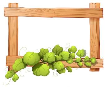 Illustratie van een houten frame met een groene plant op een witte achtergrond