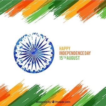 India onafhankelijkheidsdag achtergrond met penseelstroken