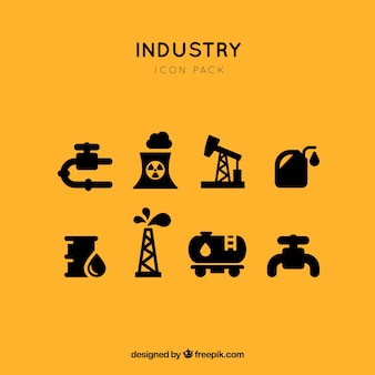 Industriële fossiele brandstoffen pictogram vector set