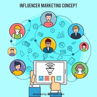Influencer marketing ontwerp met tablet
