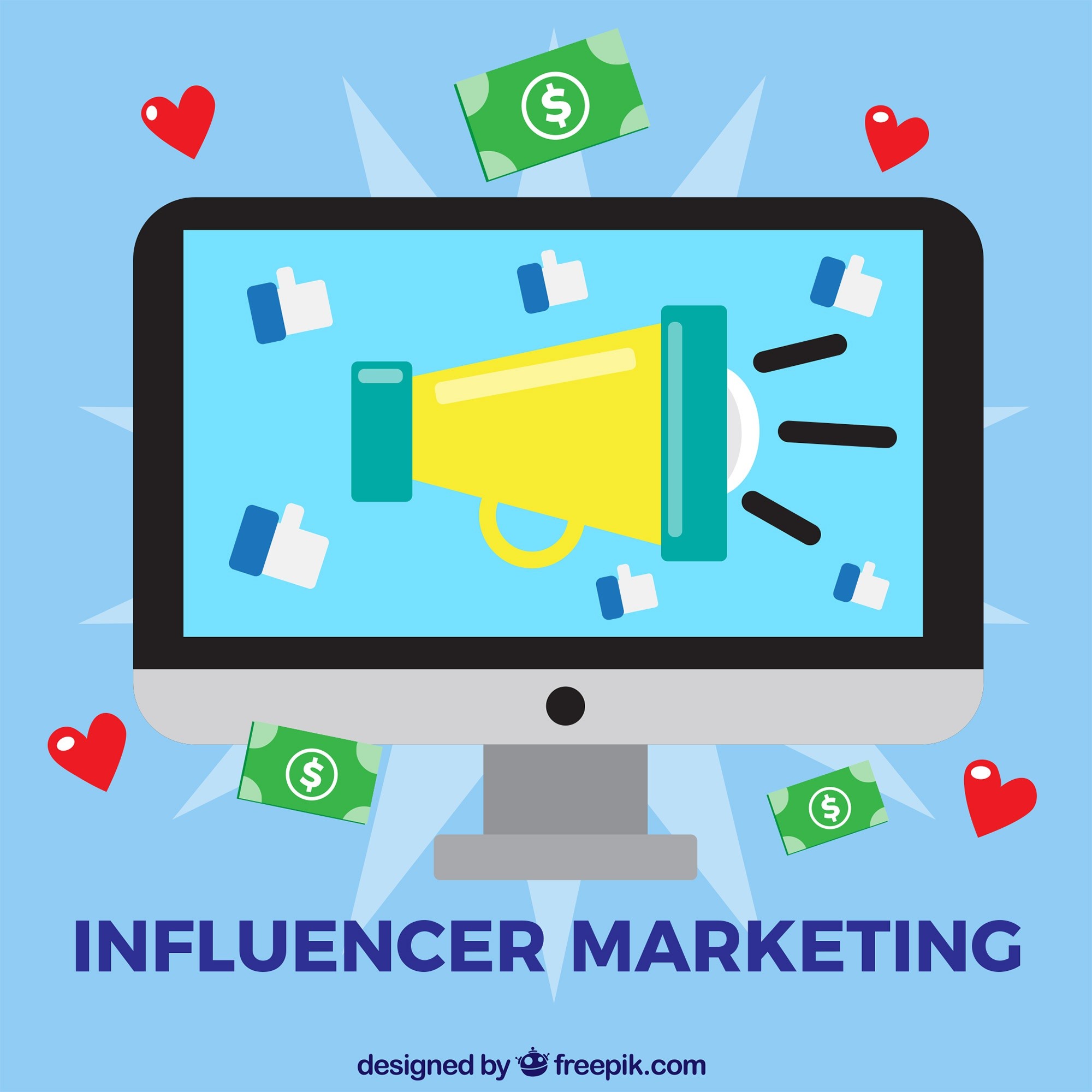Influencer marketing vector met computerscherm