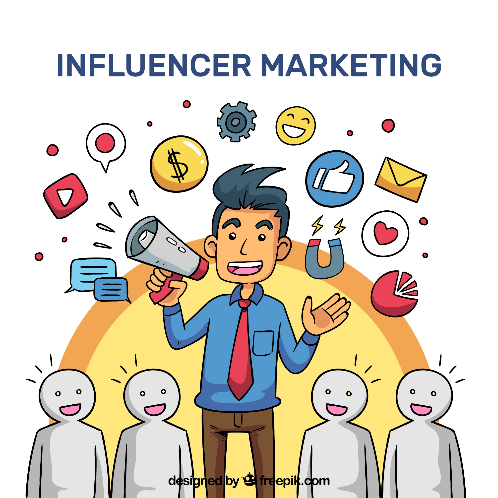 Influencer marketing vector met luisterende menigte