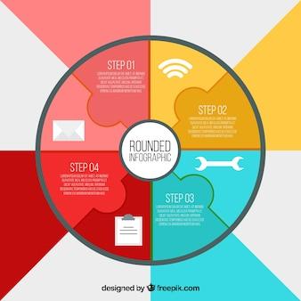 Infografisch met fasen en decoratieve iconen