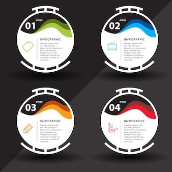 Infografisch met stappen en cirkelontwerp