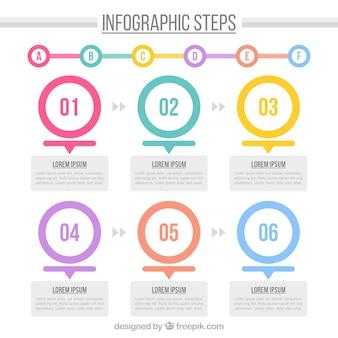 Infografisch sjabloon met cirkels en schattige stijl