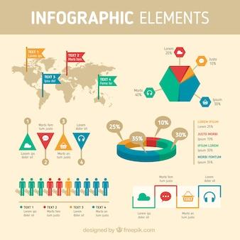 Infografische elementen in vlakke vormgeving