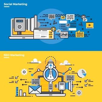 Infographic elementen over sociale marketing
