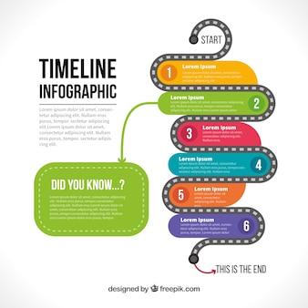Infographic sjabloon van gekleurde tijdlijn met zes stappen