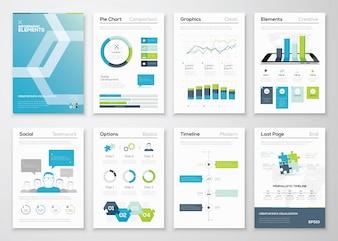 Infographics flyer en brochure ontwerpen en web templates vector