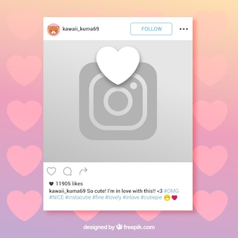 Instagram frame met hart en camera