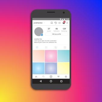 Instagram profielpagina sjabloon