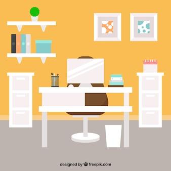 Interieur kantoor in plat design