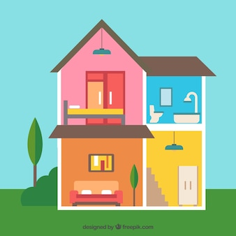 Interieur van huis met kleurrijke muren in plat design