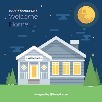 Internationaal familie dag achtergrond met huis in de nacht