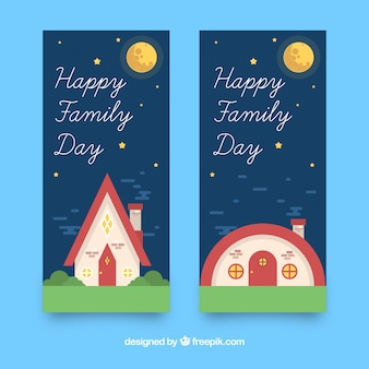 Internationaal familie dag banner met huis in de nacht