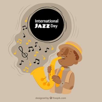 Internationale jazz achtergrond met saxofonist