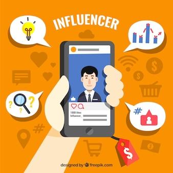 Invloed marketing ontwerp met hand houden smartphone