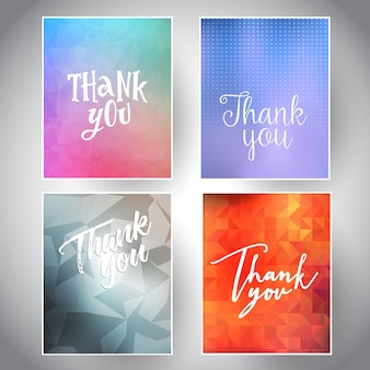 Inzameling van dankkaarten met verschillende ontwerpen