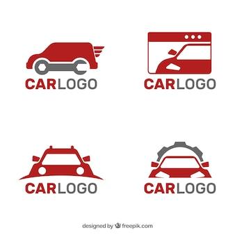 Inzameling van grijze en rode auto logo's