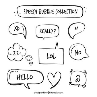 Inzameling van hand getekende speech bubble in vintage stijl