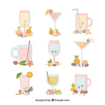 Inzameling van handgetekende cocktails met natuurlijke elementen