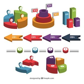 Inzameling van infografisch element in perspectief