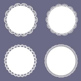 Inzameling van kantvormige cirkelvormige achtergronden