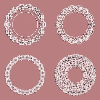 Inzameling van kantvormige cirkelvormige frames