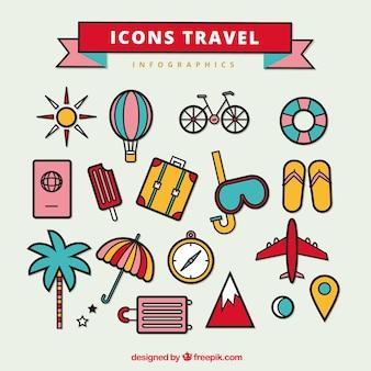 Inzameling van pictogrammen handig voor reizen infographics