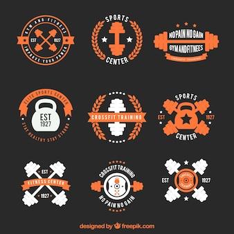 Inzameling van uitstekende crossfit stickers oranje