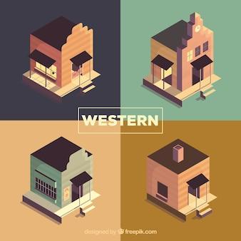 Inzameling van verre westen gebouwen met vlak ontwerp