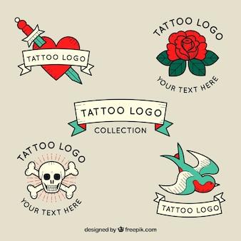 Inzameling van vintage tattoo logo's