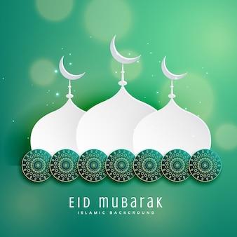 Islamitisch eid festival ontwerp met moskee en decoratie