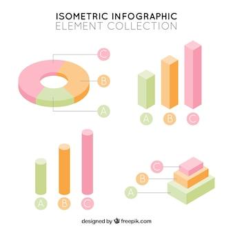 Isometrische infographic elementen in pastelkleuren