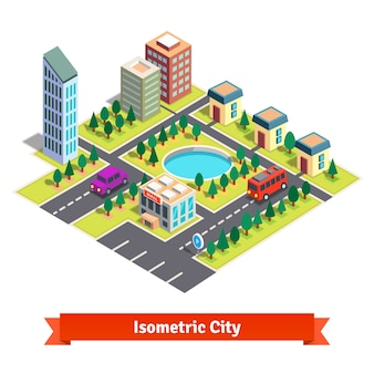Isometrische stad met wolkenkrabbers en transport