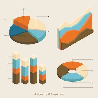 Isometrische verzameling van handige grafieken voor infographics