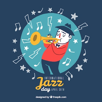 Jazz achtergrond met muzikant