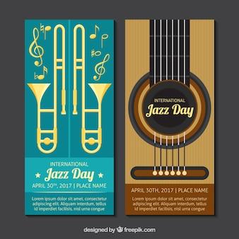 Jazz banners met platte muziekinstrumenten