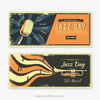Jazz dag banners in retro design