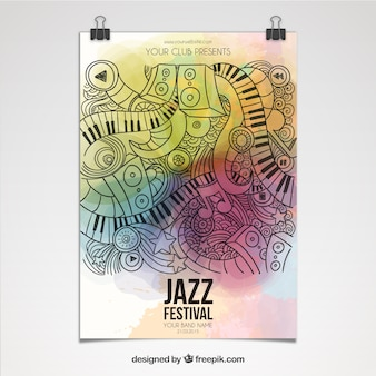 Jazzfestival poster in artistieke stijl