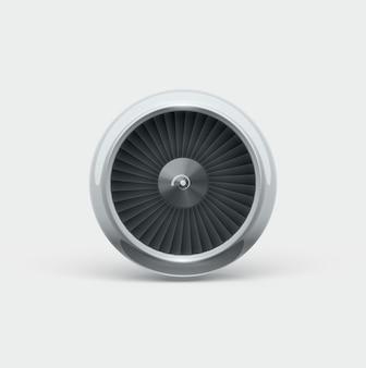 Jet engine vooraanzicht 3d object geïsoleerd op wit