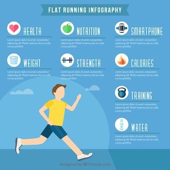 Joggen infographics in vlakke bouwvorm