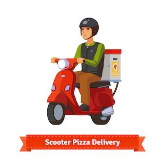 Jonge man op een scooter die pizza levert